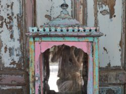 Vintage shrine with original pink and blue paint and old glass and a little drawer <b>SOLD<b>